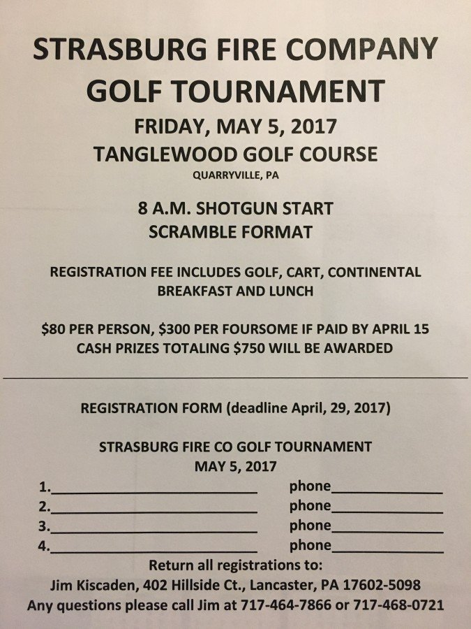 Strasburg Fire Company 1st Annual Golf Tournament